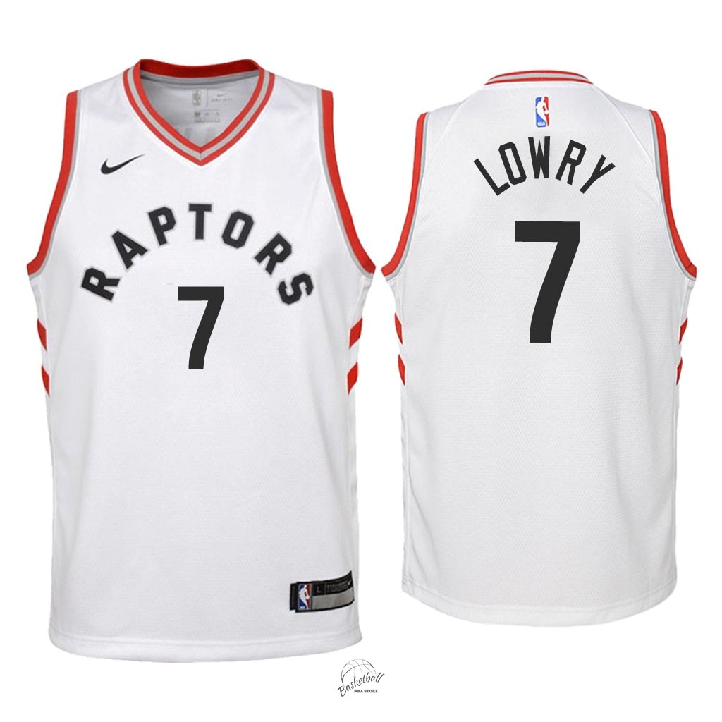 Choisir Maillot NBA Enfant Toronto Raptors NO.7 Kyle Lowry Blanc Association 2018