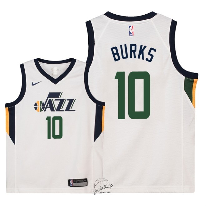 Choisir Maillot NBA Enfant Utah Jazz NO.10 Alec Burks Blanc Association 2018