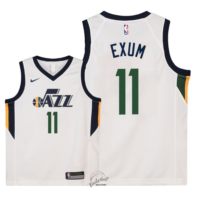 Choisir Maillot NBA Enfant Utah Jazz NO.11 Dante Exum Blanc Association 2018