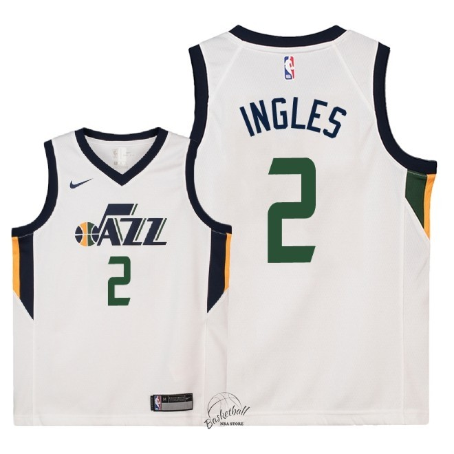 Choisir Maillot NBA Enfant Utah Jazz NO.2 Joe Ingles Blanc Association 2018