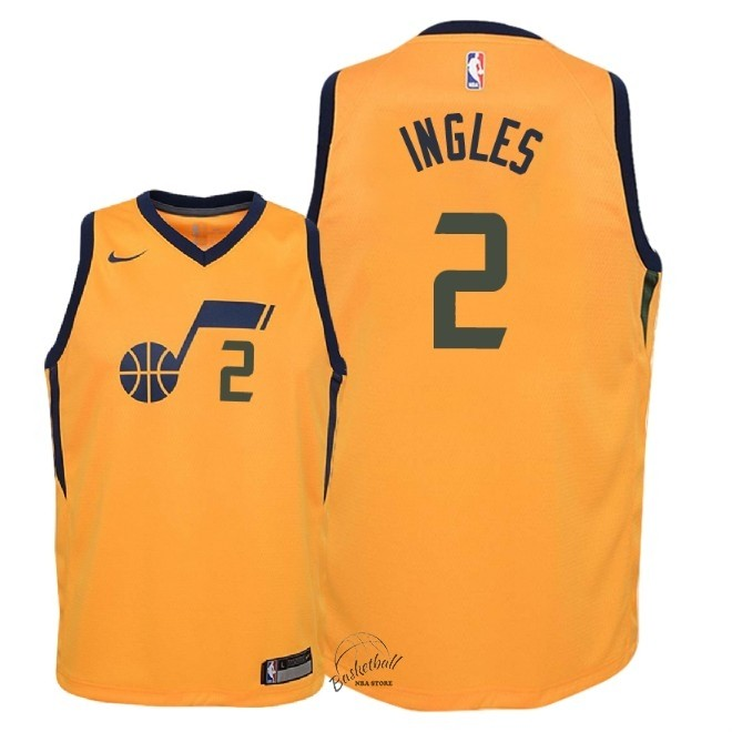 Choisir Maillot NBA Enfant Utah Jazz NO.2 Joe Ingles Jaune Statement 2018