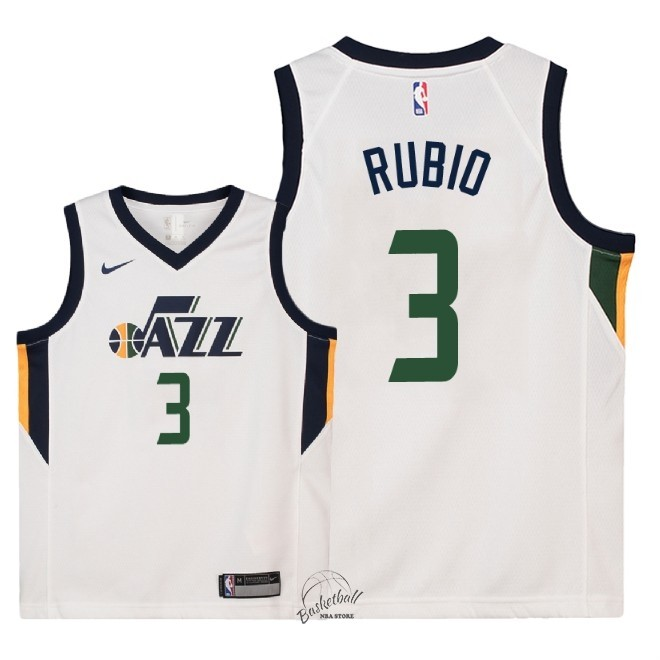 Choisir Maillot NBA Enfant Utah Jazz NO.3 Ricky Rubio Blanc Association 2018