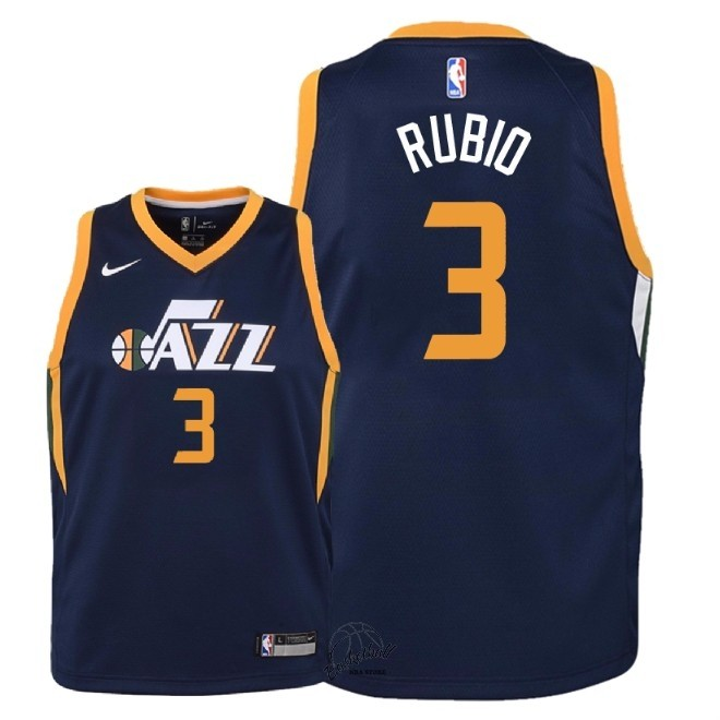 Choisir Maillot NBA Enfant Utah Jazz NO.3 Ricky Rubio Marine Icon 2018