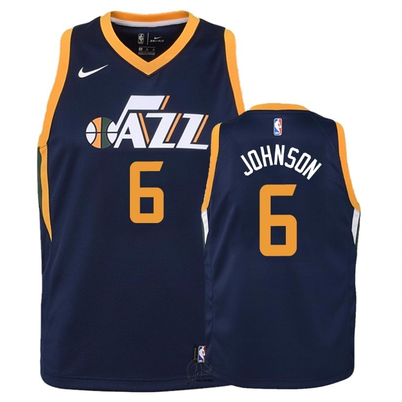 Choisir Maillot NBA Enfant Utah Jazz NO.6 Joe Johnson Marine Icon 2018
