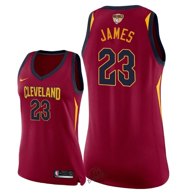 Choisir Maillot NBA Femme Cleveland Cavaliers 2018 Final Champions NO.23 LeBron James Rouge Icon Patch