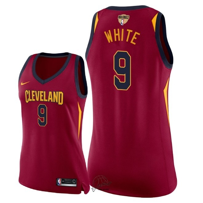 Choisir Maillot NBA Femme Cleveland Cavaliers 2018 Final Champions NO.9 Okaro White Rouge Icon Patch