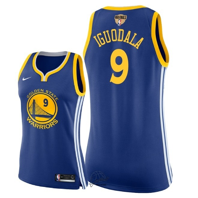 Choisir Maillot NBA Femme Golden State Warriors 2018 Final Champions NO.9 Andre Iguodala Bleu Icon Patch