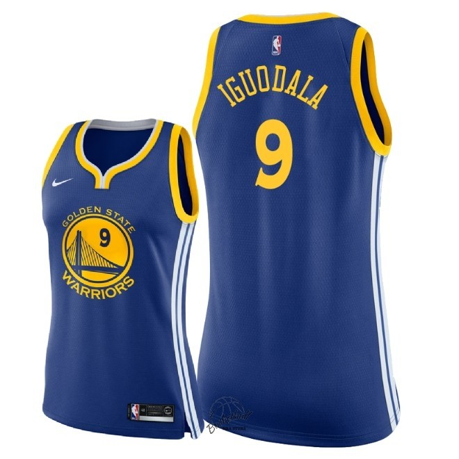Choisir Maillot NBA Femme Golden State Warriors NO.9 Andre Iguodala Bleu Icon 2018