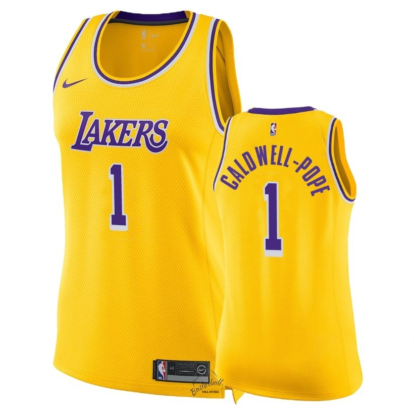 Choisir Maillot NBA Femme Los Angeles Lakers NO.1 Kentavious Caldwell Pope Jaune Icon 2018-19