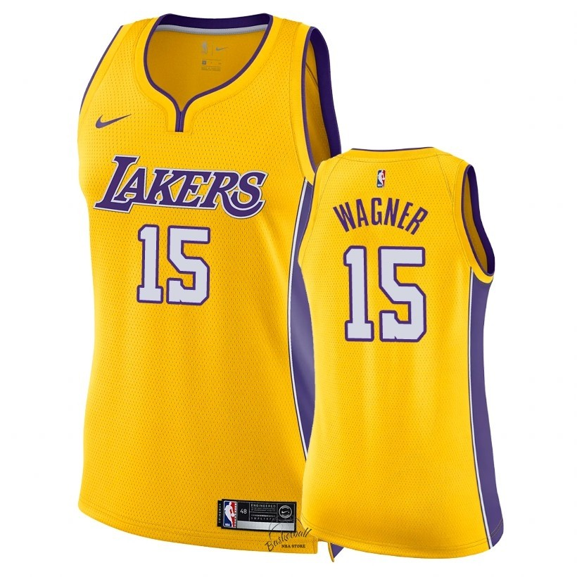 Choisir Maillot NBA Femme Los Angeles Lakers NO.15 Moritz Wagner Jaune Icon 2018