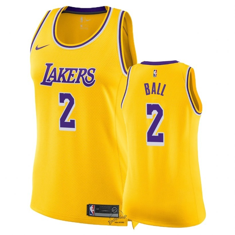 Choisir Maillot NBA Femme Los Angeles Lakers NO.2 Lonzo Ball Jaune Icon 2018-19