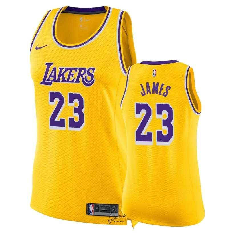 Choisir Maillot NBA Femme Los Angeles Lakers NO.23 LeBron James Jaune Icon 2018-19