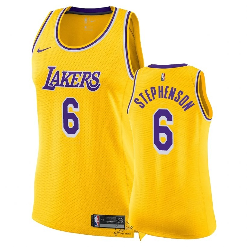 Choisir Maillot NBA Femme Los Angeles Lakers NO.6 Lance Stephenson Jaune Icon 2018-19