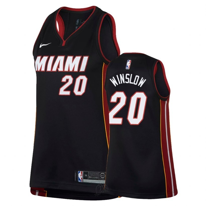 Choisir Maillot NBA Femme Miami Heat NO.20 Justise Winslow Noir Icon 2018