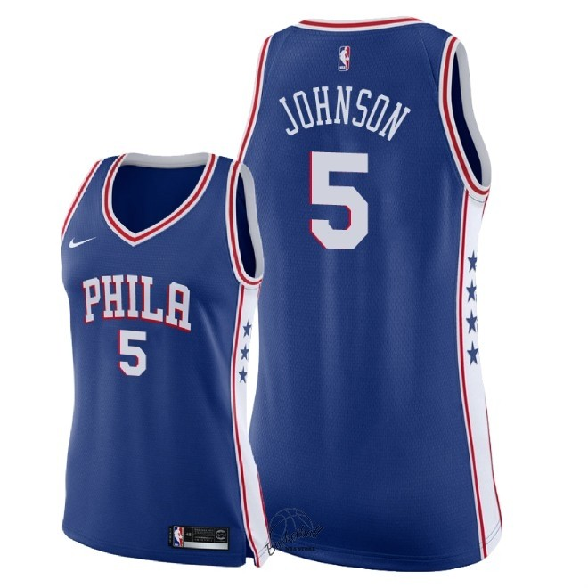 Choisir Maillot NBA Femme Philadelphia Sixers NO.5 Amir Johnson Bleu Icon 2018