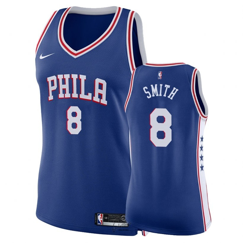 Choisir Maillot NBA Femme Philadelphia Sixers NO.8 Zhaire Smith Bleu Icon 2018