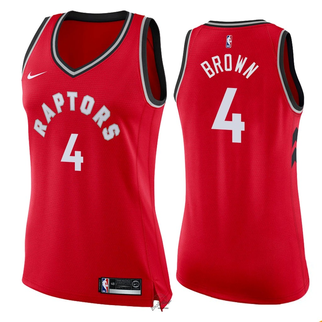 Choisir Maillot NBA Femme Toronto Raptors NO.4 Lorenzo Brown Rouge Icon 2018