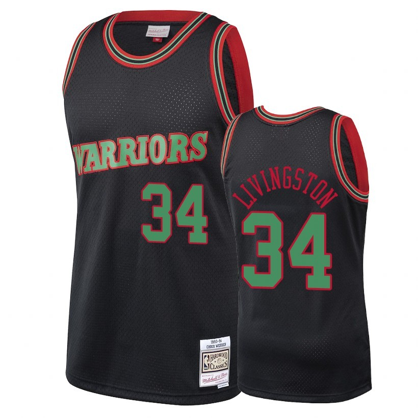 Choisir Maillot NBA Golden State Warriors 2018 Noël NO.34 Shaun Livingston Retro Noir