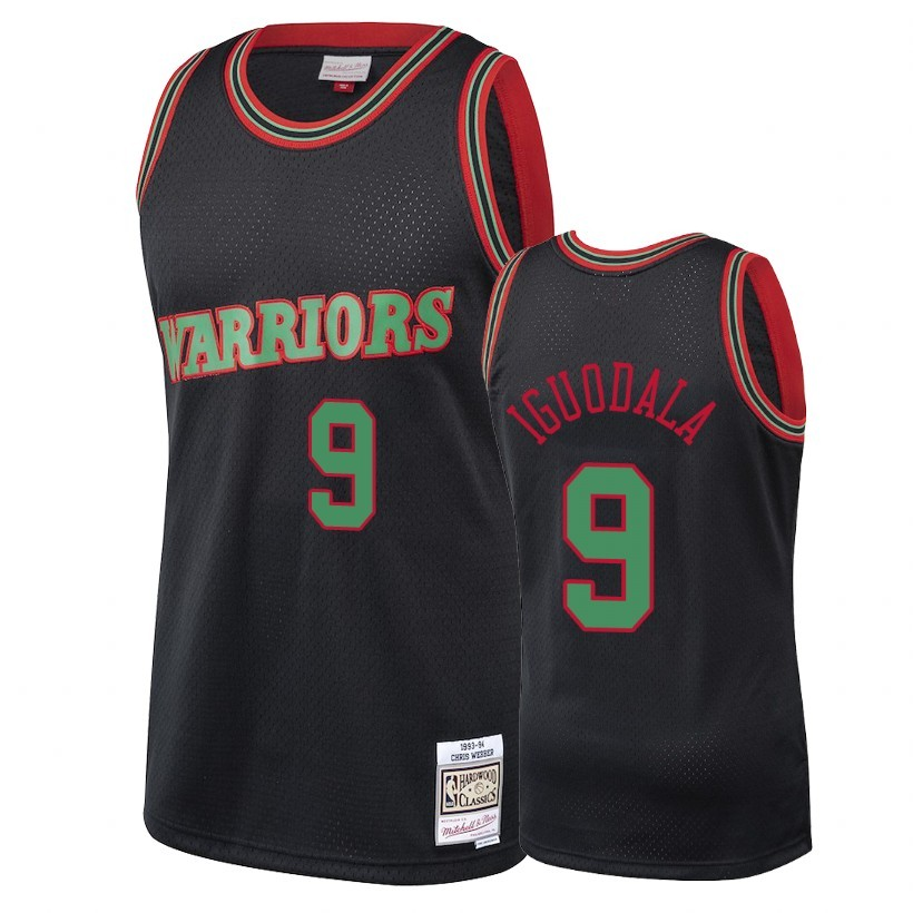 Choisir Maillot NBA Golden State Warriors 2018 Noël NO.9 Andre Iguodala Retro Noir