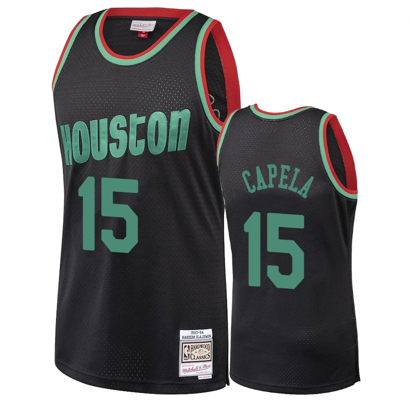 Choisir Maillot NBA Houston Rockets 2018 Noël NO.15 Clint Capela Retro Noir