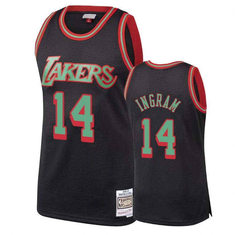 Choisir Maillot NBA Los Angeles Lakers 2018 Noël NO.14 Brandon Ingram Retro Noir
