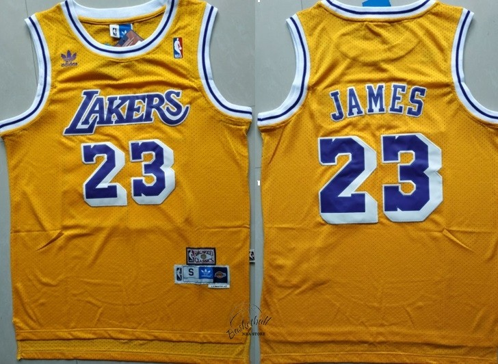 Choisir Maillot NBA Los Angeles Lakers NO.23 Lebron James Retro Jaune