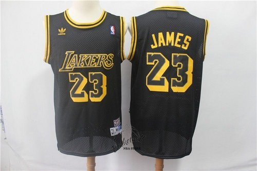 Choisir Maillot NBA Los Angeles Lakers NO.23 Lebron James Retro Noir