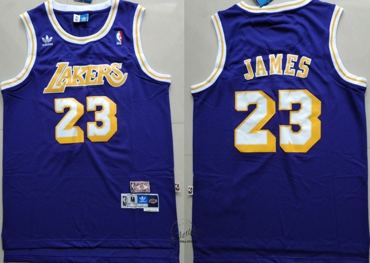 Choisir Maillot NBA Los Angeles Lakers NO.23 Lebron James Retro Pourpre