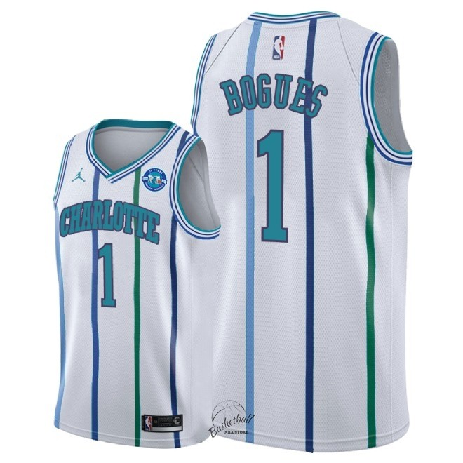 Choisir Maillot NBA Nike Charlotte Hornets NO.1 Tyrone Bogues Retro Blanc 30 Anniversaire 2018-19