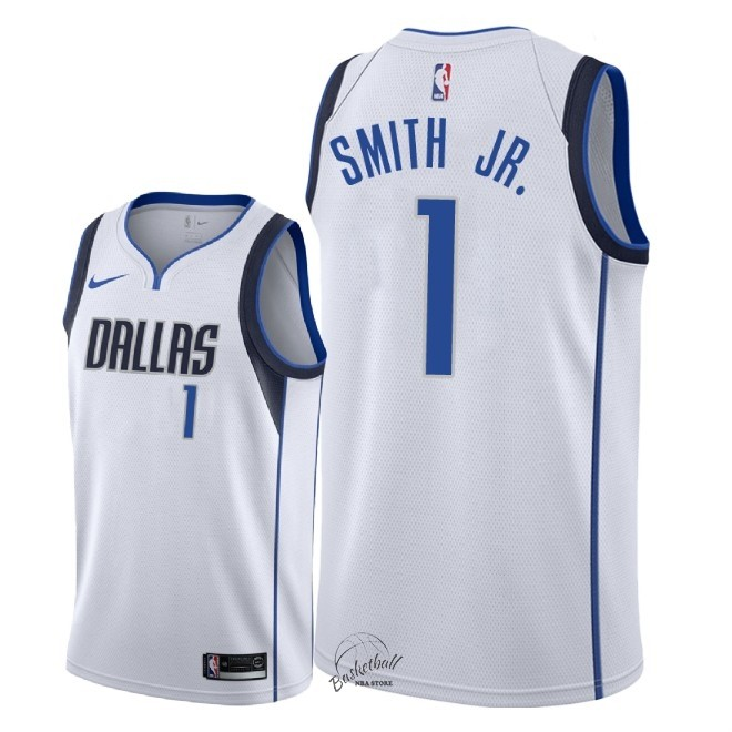 Choisir Maillot NBA Nike Dallas Mavericks NO.1 Dennis Smith Jr Blanc Association 2018