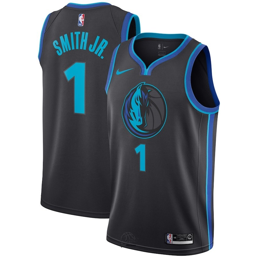 Choisir Maillot NBA Nike Dallas Mavericks NO.1 Dennis Smith Jr Nike Anthracite Ville 2018-19
