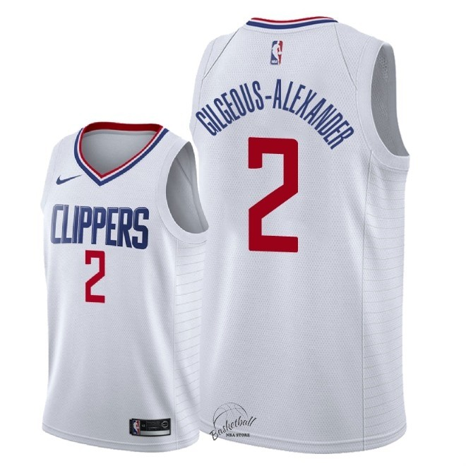 Choisir Maillot NBA Nike Los Angeles Clippers NO.2 Shai Gilgeous Alexander Blanc Association 2018