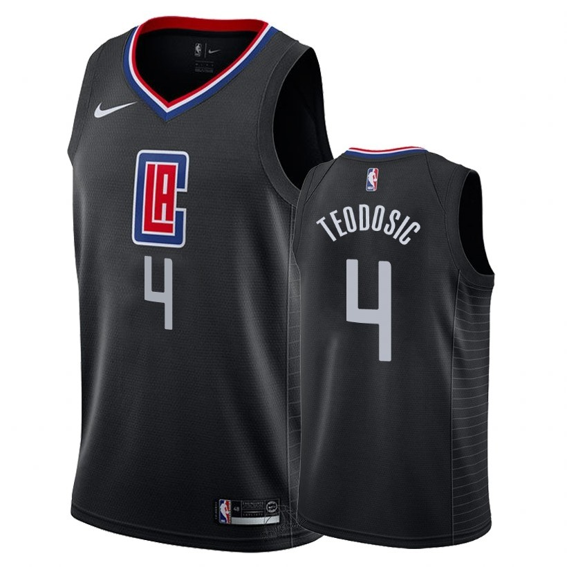 Choisir Maillot NBA Nike Los Angeles Clippers NO.4 Milos Teodisic Noir Statement 2018