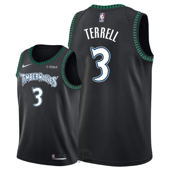Choisir Maillot NBA Nike Minnesota Timberwolves NO.3 Jared Terrell Retro Noir 2018
