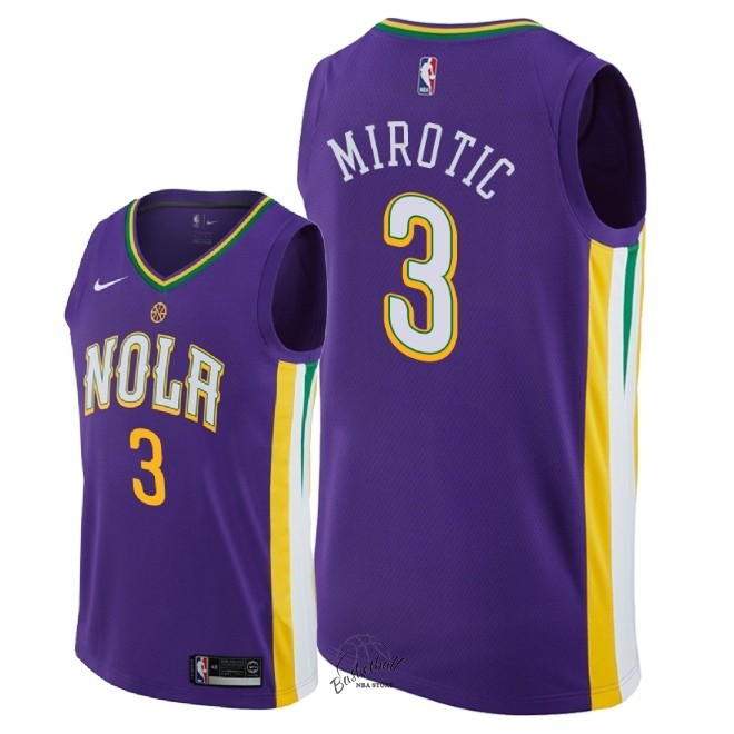 Choisir Maillot NBA Nike New Orleans Pelicans NO.3 Nikola Mirotic Nike Pourpre Ville 2018