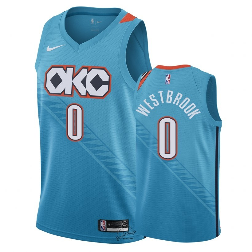 Choisir Maillot NBA Nike Oklahoma City Thunder NO.0 Russell Westbrook Nike Turquoise Ville 2018-19