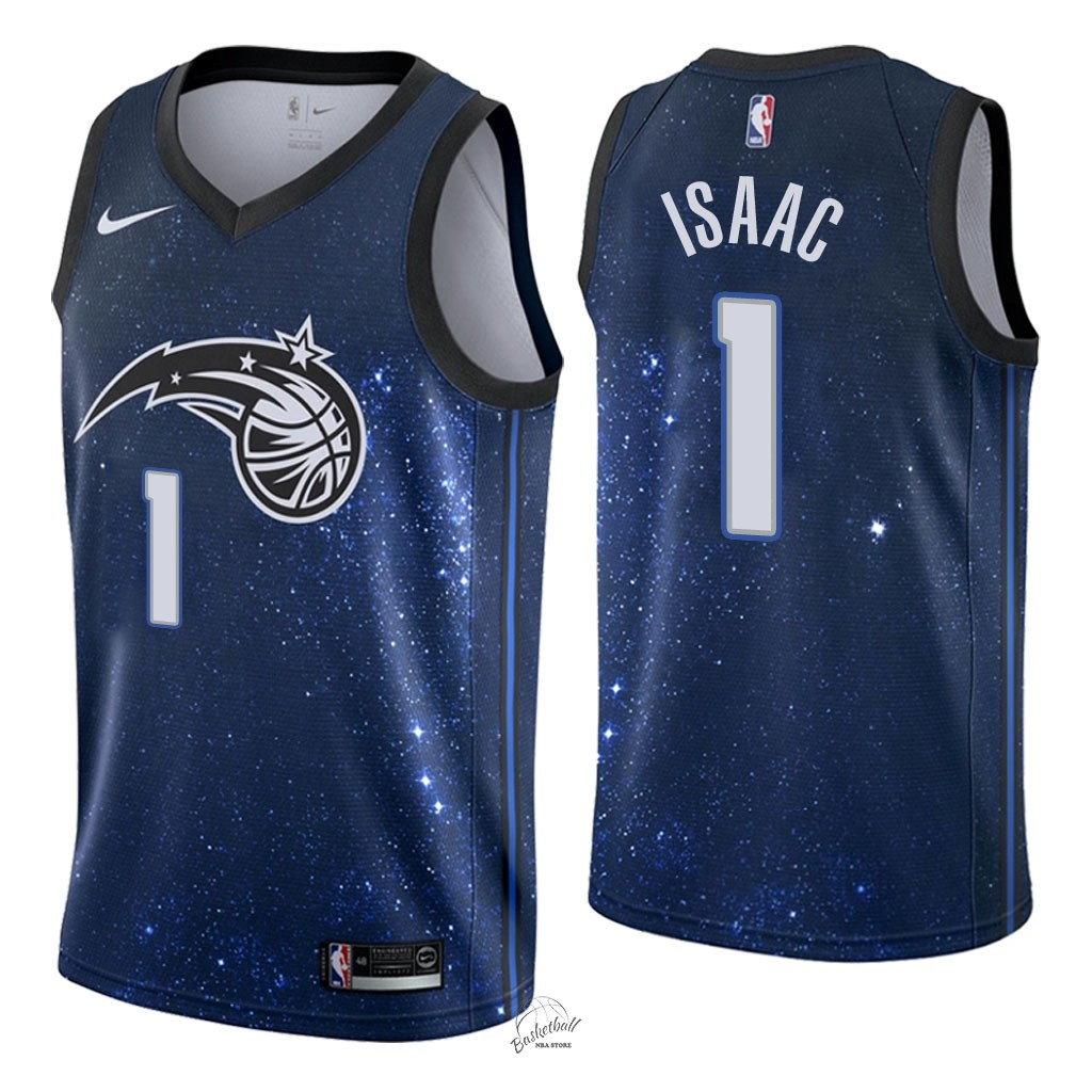 Choisir Maillot NBA Nike Orlando Magic NO.1 Jonathan Isaac Nike Marine Ville 2018