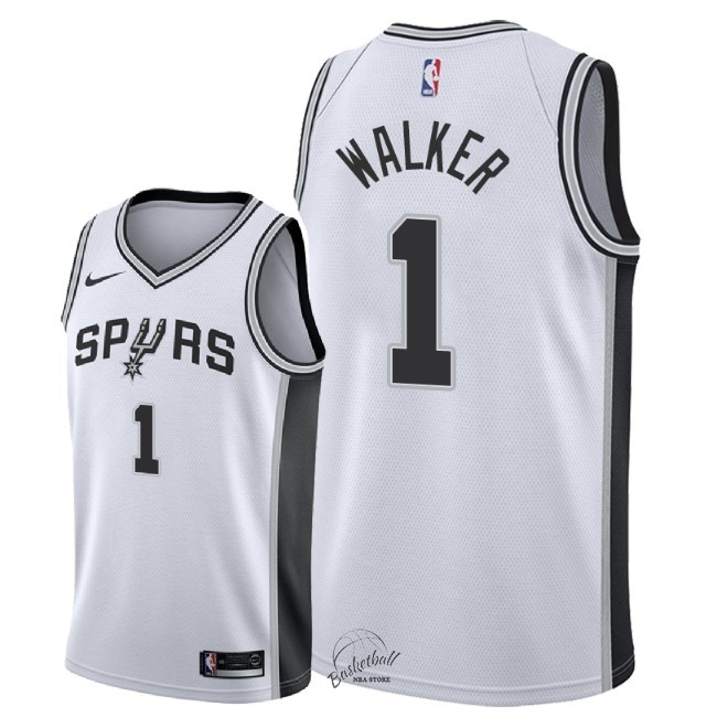 Choisir Maillot NBA Nike San Antonio Spurs NO.1 Lonnie Walker Blanc Association 2018