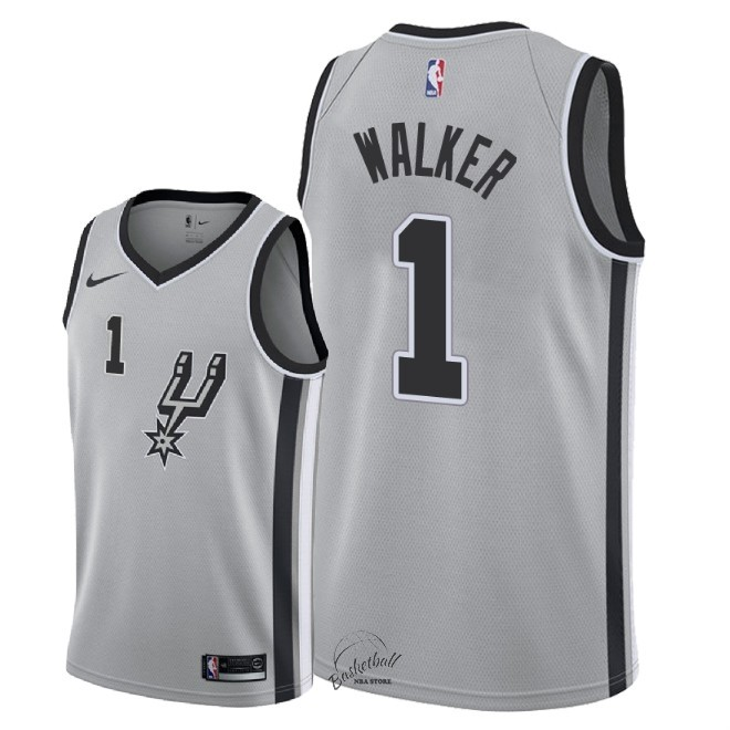 Choisir Maillot NBA Nike San Antonio Spurs NO.1 Lonnie Walker Gris Statement 2018