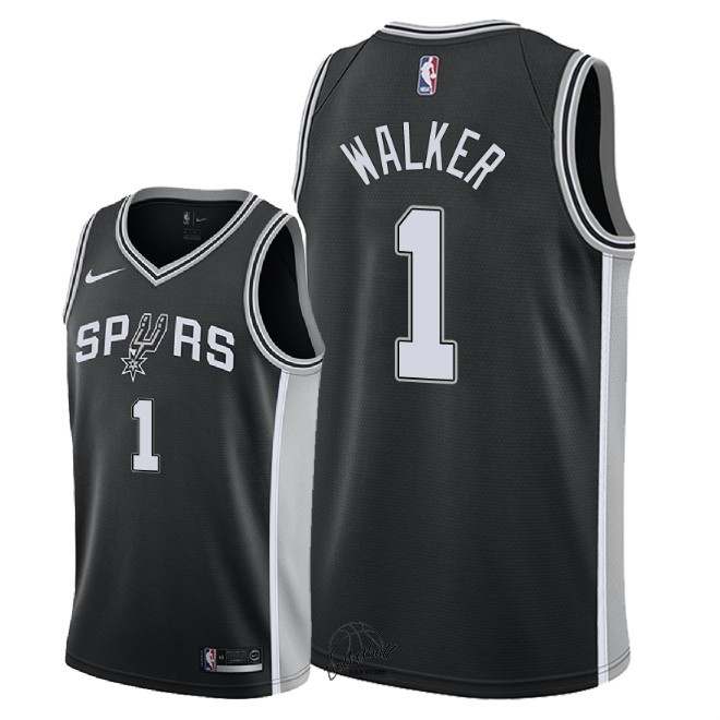 Choisir Maillot NBA Nike San Antonio Spurs NO.1 Lonnie Walker Noir Icon 2018