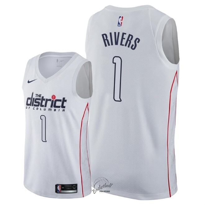 Choisir Maillot NBA Nike Washington Wizards NO.1 Austin Rivers Nike Blanc Ville 2018