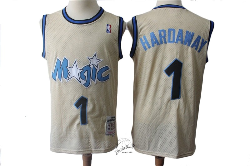Choisir Maillot NBA Orlando Magic NO.1 Anfernee Hardaway Retro Crème 1993-94