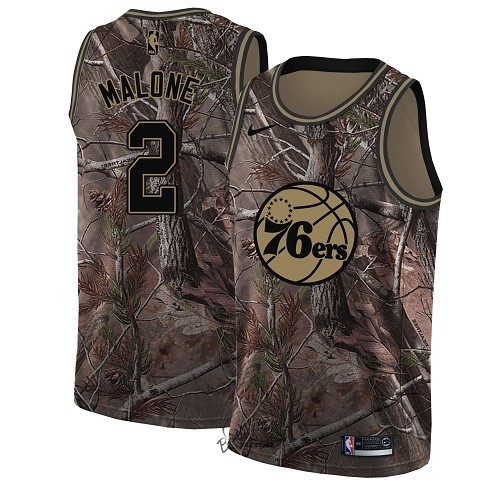 Choisir Maillot NBA Philadelphia Sixers NO.2 Moses Malone Camo Swingman Collection Realtree 2018
