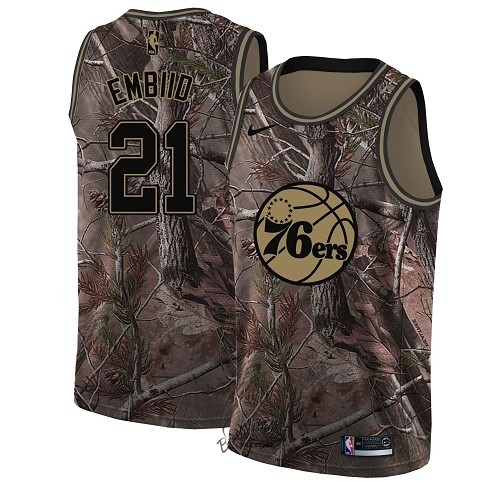 Choisir Maillot NBA Philadelphia Sixers NO.21 Joel Embiid Camo Swingman Collection Realtree 2018