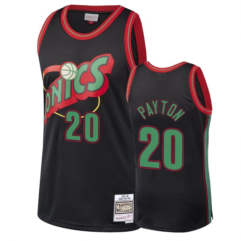 Choisir Maillot NBA Seattle SuperSonics 2018 Noël NO.20 Gary Payton Retro Noir