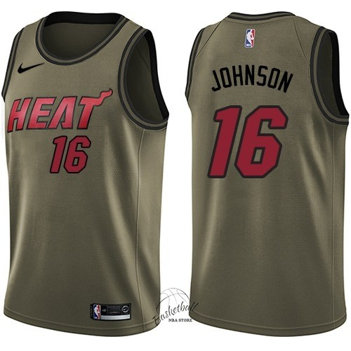 Choisir Maillot NBA Service De Salut Miami Heat NO.16 James Johnson Nike Armée verte 2018
