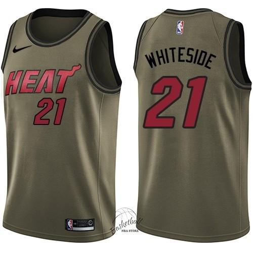 5aba22b5a438 Choisir Maillot NBA Service De Salut Miami Heat NO.21 Hassan Whiteside Nike  Armée verte