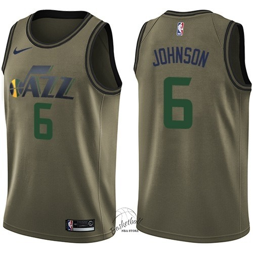 Choisir Maillot NBA Service De Salut Utah Jazz NO.6 Joe Johnson Nike Armée verte 2018