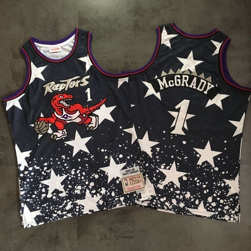 Choisir Maillot NBA Toronto Raptors NO.1 Tracy McGrady Retro Noir AU