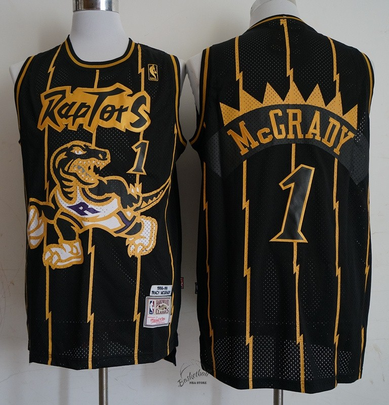 Choisir Maillot NBA Toronto Raptors NO.1 Tracy McGrady Retro Or Noir 1998-99